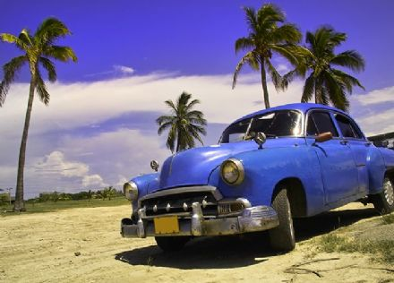 Old blue car - retro wall mural
